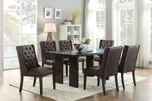 Poundex F2367-1501 7 pc avenue II espresso finish wood table glass insert dining table set