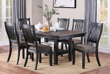 Poundex F2438-1808 7 pc conrad ii dark brown wood two tone finish dining table set