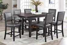 Poundex F2439-1876 7 pc Red barrell studio conrad ii dark brown wood two tone finish counter height dining table