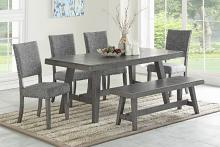 Poundex F2480-1773-1775 6 pc Ophelia gray finish wood dining table set with bench