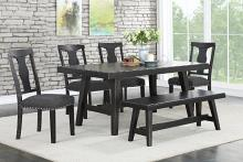 Poundex F2481-1772-1776 6 pc Ophelia II black finish wood dining table set with bench