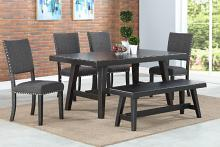 Poundex F2481-1774-1776 6 pc Ophelia black finish wood dining table set with bench