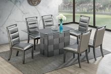 Poundex F2484-1784 7 pc park avenue ii silvery metallic finish wood dining table set with glass top