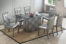 Poundex F2484-1785 7 pc park avenue ii silvery metallic finish wood dining table set with glass top