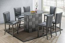 Poundex F2485-1783 7 pc park avenue ii silvery metallic finish wood counter height glass top table set