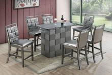 Poundex F2485-1786 7 pc park avenue ii silvery metallic finish wood counter height glass top table set
