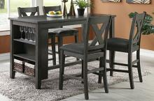 Poundex F2488-1789 5 pc Wildon studio brace gray finish solid acacia wood and fabric counter height dining table set