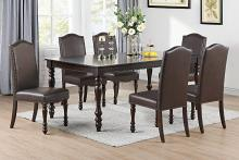 Poundex F2491-1794 7 pc Red barrell studio geneva brown finish wood turned legs dining table set with leaf