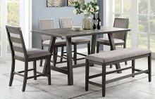 F2495-1803-04 6 pc Clive studios distressed gray wood finish counter height dining table set with bench