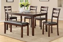 Poundex F2547 6 pc bridget espresso finish wood dining table set padded seat chairs and bench
