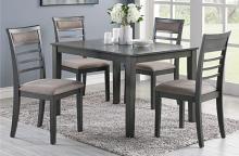 Poundex F2556 5 pc Hester elenaor gray finish wood rectangular dining table set