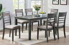 Poundex F2557 7 pc Hester porti antique gray finish wood rectangular dining table set