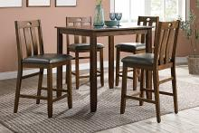 Poundex F2559 5 pc Wildon studio brown finish wood and fabric upholstery counter height dining table set
