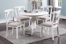 Poundex F2560 5 pc Wildon home studio white finish wood round country style dining table set
