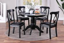 Poundex F2561 5 pc Wildon home studio black finish wood round country style dining table set