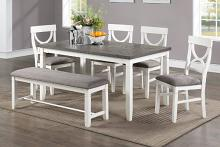 Poundex F2562 6 pc bridget ii white and grey finish wood dining table set padded seat chairs and bench