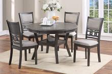 "Poundex F2564-1812 5 pc Wildon home studio grey finish wood 47"" round dining table set"