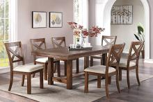 Poundex F2574-1829 7 pc Wildon home studio II brown finish wood dining table set
