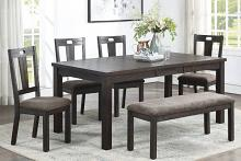 Poundex F2576-1832-33 6 pc Wildon home dark finish wood dining table set with bench