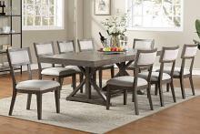Poundex F2577-1834 7 pc Wildon home grey finish wood dining table set