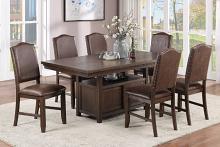 Poundex F2578-1836 7 pc Clive studios dark finish wood dining table set with storage base