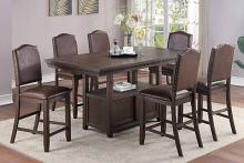 Poundex F2579-1837 7 pc Clive studios dark finish wood counter height dining table set with storage base