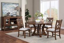 """Poundex F2582-1839 5 pc Freida II brown finish wood 54"""" round dining table set trestle base"""