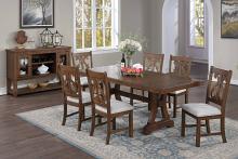 Poundex F2583-1839 7 pc Freida II brown finish wood dining table set trestle base