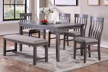 Poundex F2605 6 pc bridget ii grey finish wood dining table set padded seat chairs and bench