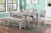 Poundex F2606 6 pc bridget ii ligght grey finish wood dining table set padded seat chairs and bench