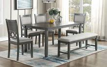 Poundex F2610 6 pc bridget ii grey finish wood dining table set padded seat chairs and bench