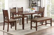 Poundex F2611 6 pc bridget ii brown finish wood dining table set padded seat chairs and bench