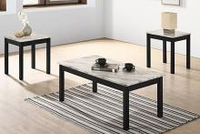 Poundex F3192 3 pc Charlton home bradford faux marble top wood coffee and end table set