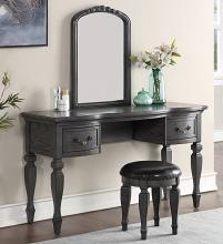 Poundex F4005 3 pc grey finish wood make up bedroom vanity set curved legs stool and mirror