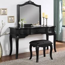 Poundex F4047 3 pc Waldork park huitt black finish wood make up bedroom vanity set , stool and mirror