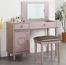 Poundex F4136 2 pc Angelica rose gold finish wood make up bedroom vanity set flip up mirror