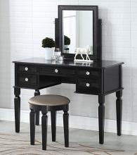 Poundex F4180 3 pc galaxy black finish wood make up bedroom vanity set