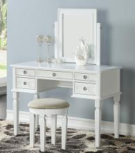 Poundex F4181 3 pc white finish wood make up bedroom vanity set