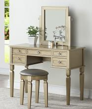 Poundex F4185 3 pc champagne finish wood make up bedroom vanity set