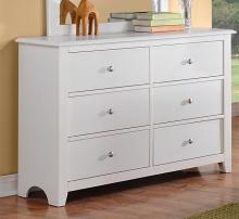 F4256 Diana white finish wood 6 drawer bedroom dresser