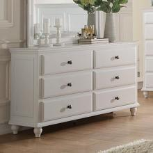 Poundex F4351 Diana II white finish wood 6 drawer bedroom dresser