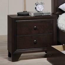 Poundex F4861  Morgan II dark brown natural finish wood 2 drawer nightstand