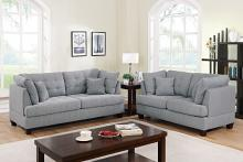 Poundex F6401 2 pc Winston porter tarakan grey polyfiber fabric sofa and love seat set