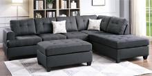 Poundex F6404 3 pc Birchview ellus madison ash black polyfiber fabric sectional sofa reversible chaise and ottoman
