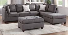 Poundex F6424 3 pc Red barrel studio lauria gray plush microfiber fabric sectional sofa reversible chaise and ottoman