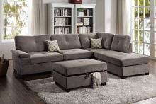 Poundex F6425 2 pc Canora gene charcoal waffle suede fabric reversible chaise sectional sofa