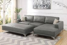 Poundex F6429 2 pc stella gene antique grey breathable leatherette sectional sofa with chaise