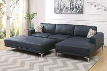 Poundex F6430 2 pc stella gene ink blue breathable leatherette sectional sofa with chaise