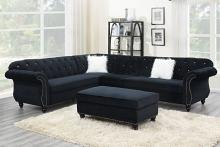Poundex F6433 4 pc jolanda gene black velvet fabric sectional sofa with tufted backs