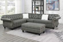 Poundex F6438-clearance 4 pc jolanda slate grey breathable leatherette sectional sofa with tufted backs